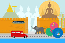 Flat Style Design Of Chiangmai Thailand With Travel Northern Culture Concept Design For Brochure Poster Website Book Cover Artwork