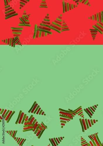 Árboles de Navidad en fondo bicolor rojo y verde