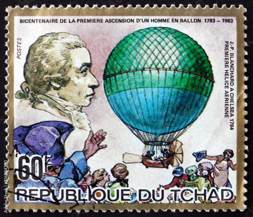 Postage stamp Chad 1983 Chelsea Balloon and J. P. Blanchard
