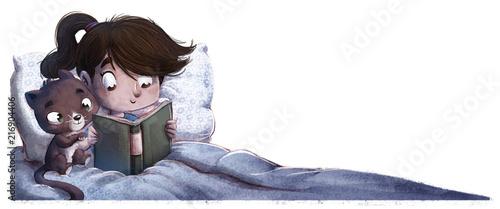 Fényképezés niña con gato leyendo en la cama