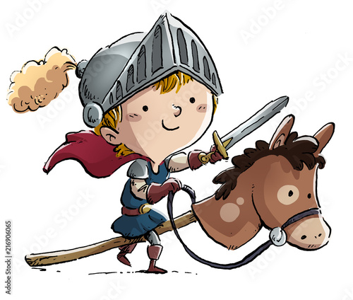 Fotomural  niño caballero con caballo