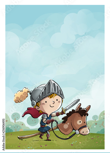 Fototapeta niño caballero con caballo en el campo obraz