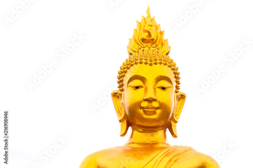 Tuinposter Boeddha Image of golden Buddha head on white background, Buddhist worship, Buddha day