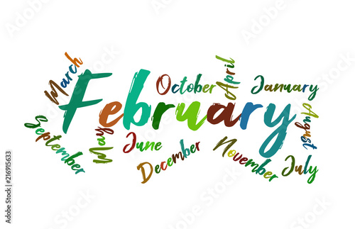 february colorful lettering name of month calendae buy this stock