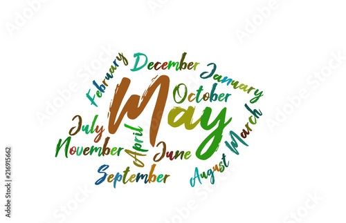 may colorful lettering name of month calendae buy this stock
