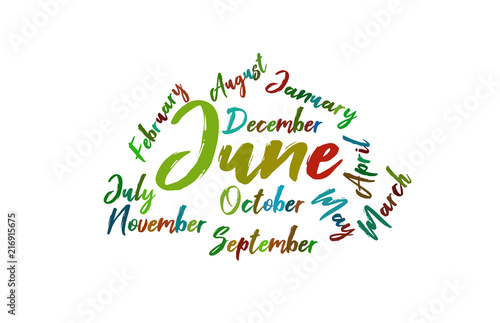 june colorful lettering name of month calendae buy this stock