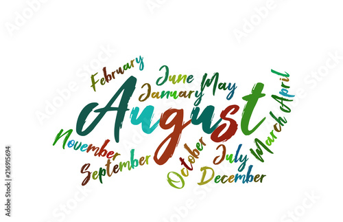 august colorful lettering name of month calendae buy this stock