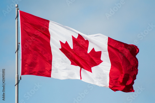 Spoed Foto op Canvas Canada Canada national flag with red maple leaf blowing in the wind with blue skies