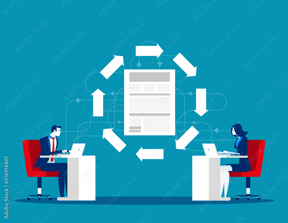 Fototapety, obrazy: File transfer technology. Business team and data exchange between. Concept business office vector illustration.
