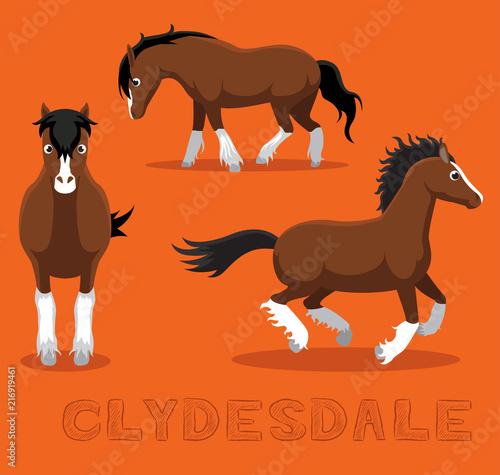 Valokuva Horse Clydesdale Cartoon Vector Illustration