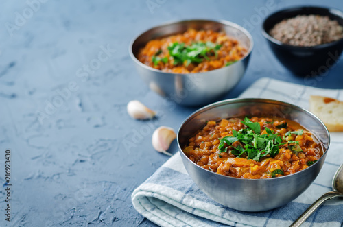 Cabbage Lentil stew with parsley in a bowl