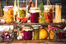 Pickled Marinated Fermented Vegetables On Shelves