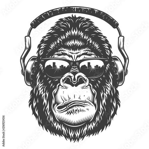 Serious gorilla in monochrome style Canvas Print