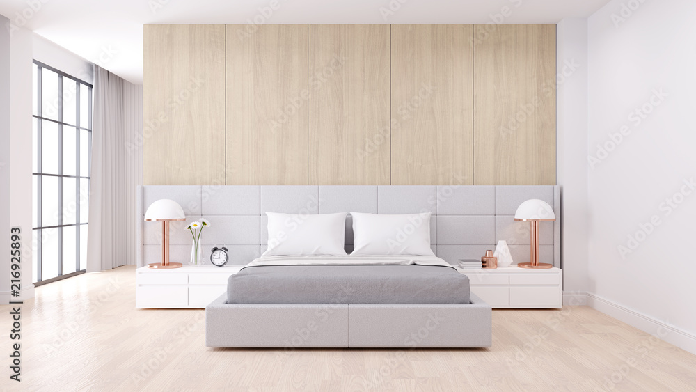 Fototapety, obrazy: Bedroom interior dssign with Modern minimalist style.,Cozy white room and Simple Comforts, white bed on  natural wood, 3d rendering