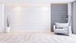 Leinwanddruck Bild - Modern and minimalist interior of living room interior,gray armchair  on wood floor and concrete wall,3d render