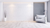 Modern and minimalist interior of living room interior,gray armchair  on wood floor and concrete wall,3d render