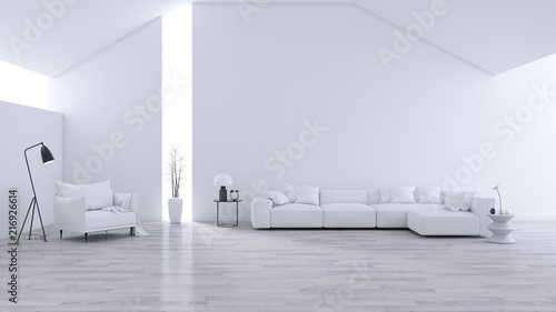 Spacious Modern And Minimalis Living Room , Black U0026 White Interior Design  ,3d Rendering