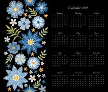 Calendar For 2019 Year. Week Starts On Sunday. Vector Template With Floral Ornament Of Blue Embroidered Flowers.  Ethnic Embroidery Pattern.