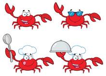 Crab Cartoon Character Set 1. ...