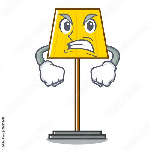 Canvas Print Angry floor lamp mascot cartoon
