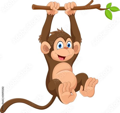 Naklejka premium Kreskówka słodkie małpy wiszące na gałęzi drzewa