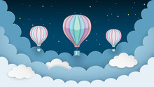 Hot Air Balloons, Stars And Cl...