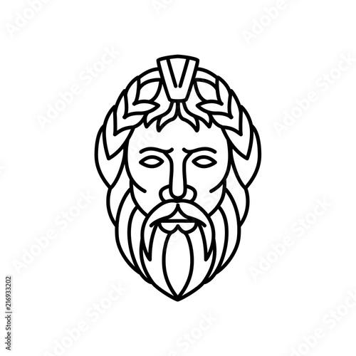 Zeus God of Sky and Thunder Mono Line Wallpaper Mural