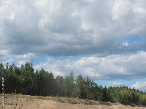 Fotobehang Donkergrijs Blue sky with white cumulus clouds over the forest