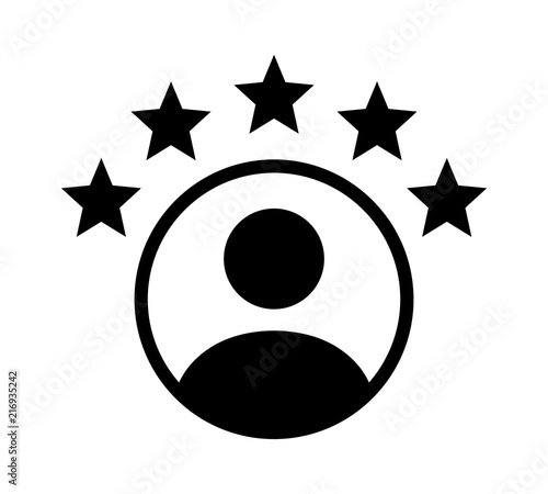 Customer experience or 5 star satisfaction rating flat vector icon for review ap Canvas Print