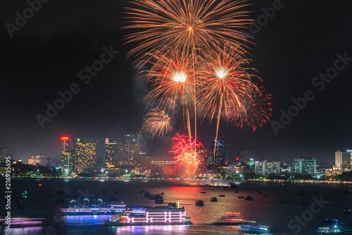 Foto op Plexiglas Asia land Firework festival at Pattaya Beach, Thailand