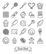 Sweet Food Line Icon Set. Collection Of Sweets, Pastry And Ice Cream Symbols.