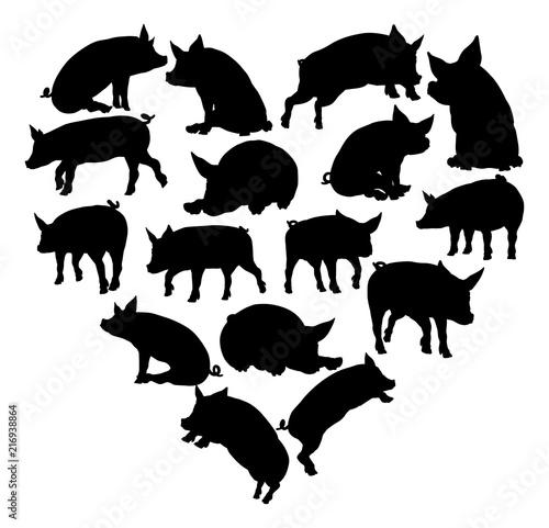 Pig Heart Silhouette Concept Wallpaper Mural