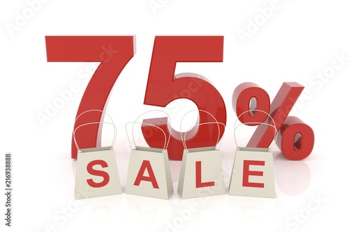Seventy five percent sale. 3D rendering. Poster