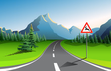 Scenic Mountain Landscape With Asphalt Road Passing Through Fresh Green Meadow With Blue Mountains On Background. Natural Park. Vector Illustration