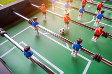 Close-up Of Table Football Soccer Game On Green Field