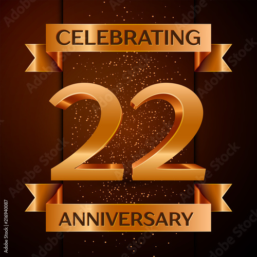 Poster  Realistic Twenty two Years Anniversary Celebration design banner