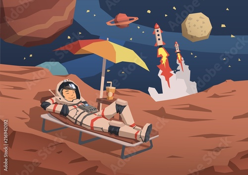 Fototapeta Astronaut in space suit having a cocktail on a sunbed on alien planet landscape with rocket launching nearby
