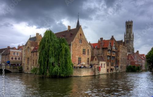 In de dag Brugge Rozenhoedkaai canal and Belfort tower, Bruges, Belgium