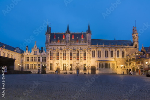 Wall Murals Bridges Bruges City hall at Burg square at night, Belgium