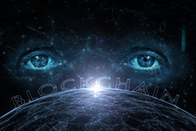Futuristic Shiny Blockchain Word On Abstract Blue Cyberspace Network With Artistic Human Eyes Background.