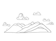Mountains And Clouds Lineart Illustration