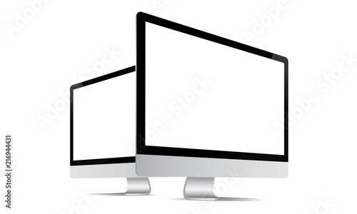Fotografiet Computer monitor mock up with perspective side view isolated on white background