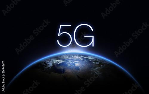 5G Network Internet Mobile Wireless Business concept.5G standard of modern signal transmission technology. - 216944617