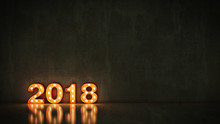 Marquee Light 2018 Letter Sign, New Year 2018. 3d Rendering