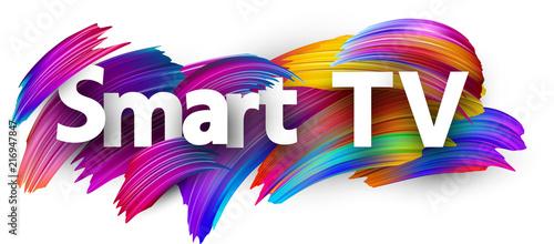 Fototapeta Smart TV sign with colorful brush strokes. obraz na płótnie