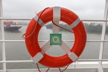Red Life Buoy On Cruise Ship W...