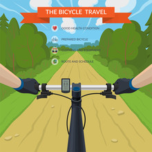 Hands On The Handlebar Of A Bicycle. Bike Travel By Forest Road. View From The Eyes Of A Cyclist. Vector Illustration In Flat Style