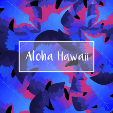 Monstera Leaves Decorated Background For Aloha Hawaii Party Template Design.