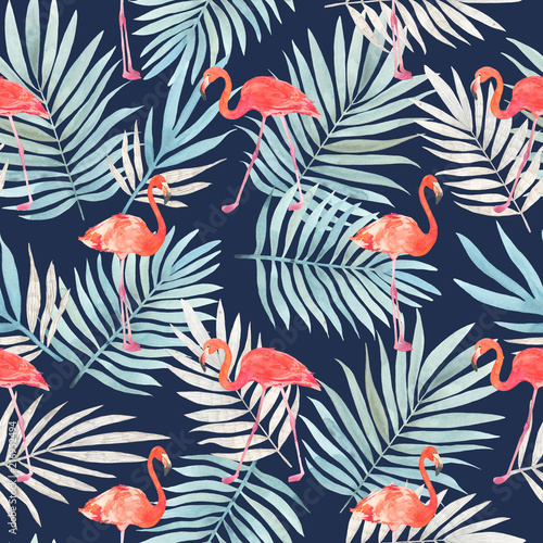 Fototapeten Künstlich Seamless watercolor pattern with a bird flamingo and tropical leaves. Beautiful pink bird. Tropical flamingo.