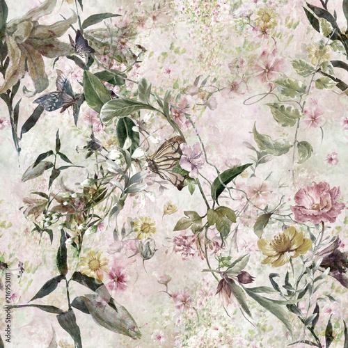akwarela-obraz-lisc-i-kwiaty-bezszwowy-wzor